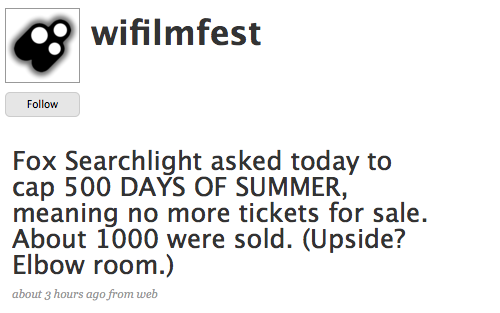 Tweet from festival director Meg Hamel. The film is screening at the Orpheum Theatre which has a capacity for 1700.